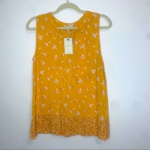 NWT Lucky Brand Yellow Floral Tank Top w fringe M